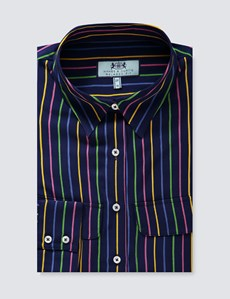 Women's Navy Multi Stripe Relaxed Fit Shirt - Single Cuff
