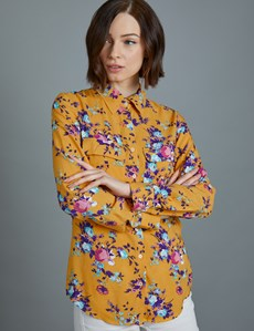 Women's Mustard Floral Relaxed Fit Shirt - Single Cuff