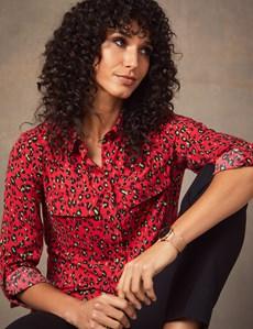 Bluse – Relaxed Fit – Viskose – Brusttaschen – Leopard