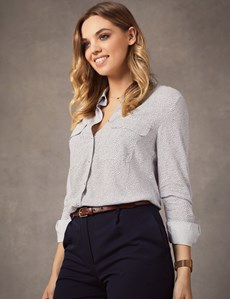Women's White & Navy Spot Relaxed Fit Shirt - Single Cuff