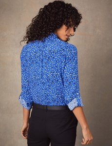 Women's Blue & White Hearts Print Relaxed Fit Shirt - Single Cuff