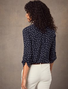 Women's Navy & White Star Print Relaxed Fit Shirt - Single Cuff