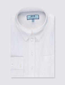 Women's White Plain Linen Shirt - Single Cuff