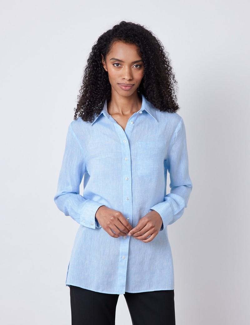 Women's Light Blue Relaxed Fit Linen Shirt