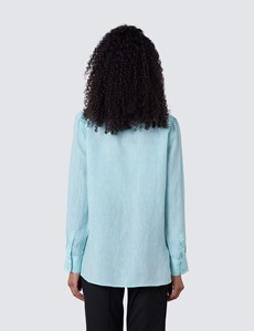 Women's Turquoise Relaxed Fit Linen Shirt