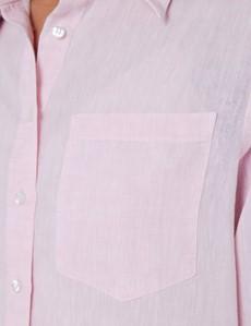 Women's Pink Relaxed Fit Linen Shirt