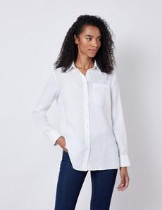 Women's White Relaxed Fit Linen Shirt