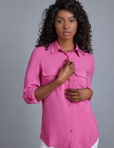 Women's Pink Relaxed Fit Shirt - Single Cuff