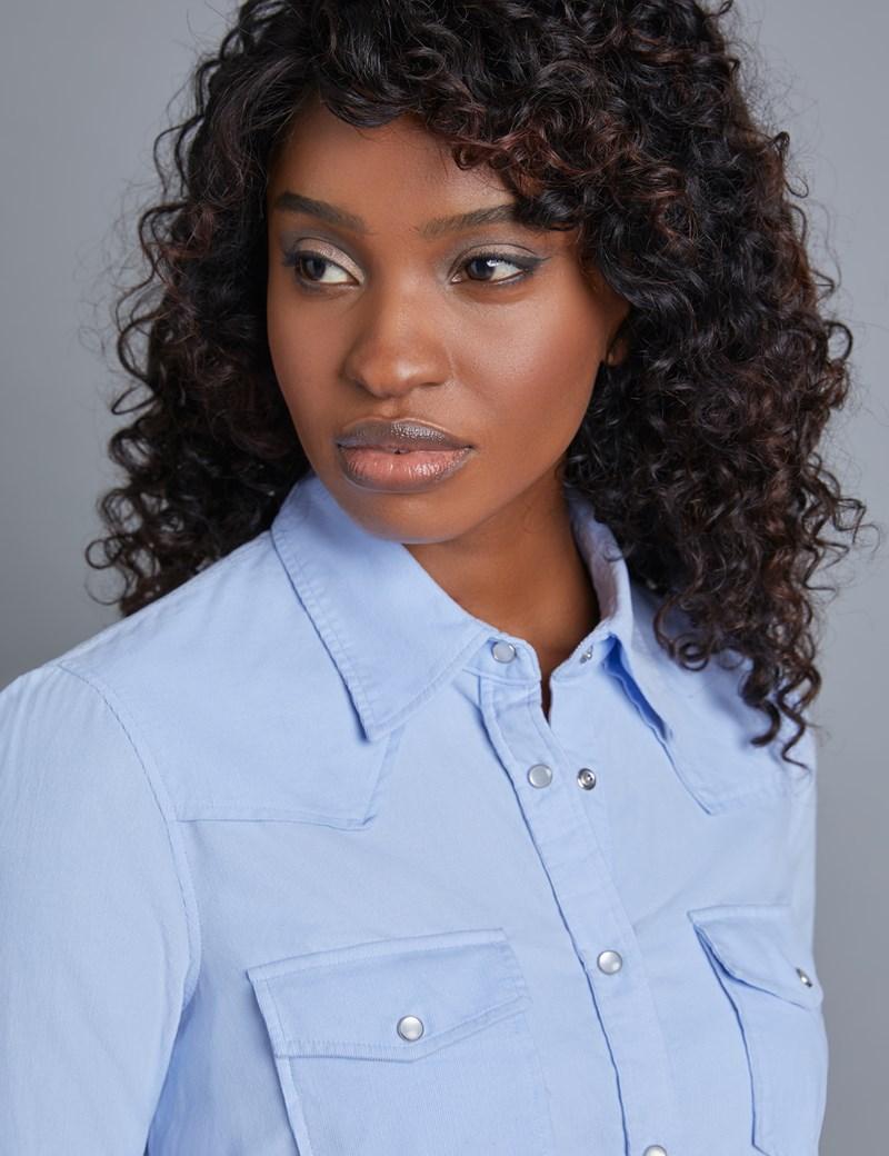 Women's Light Blue Corduroy Relaxed Fit Shirt - Single Cuff