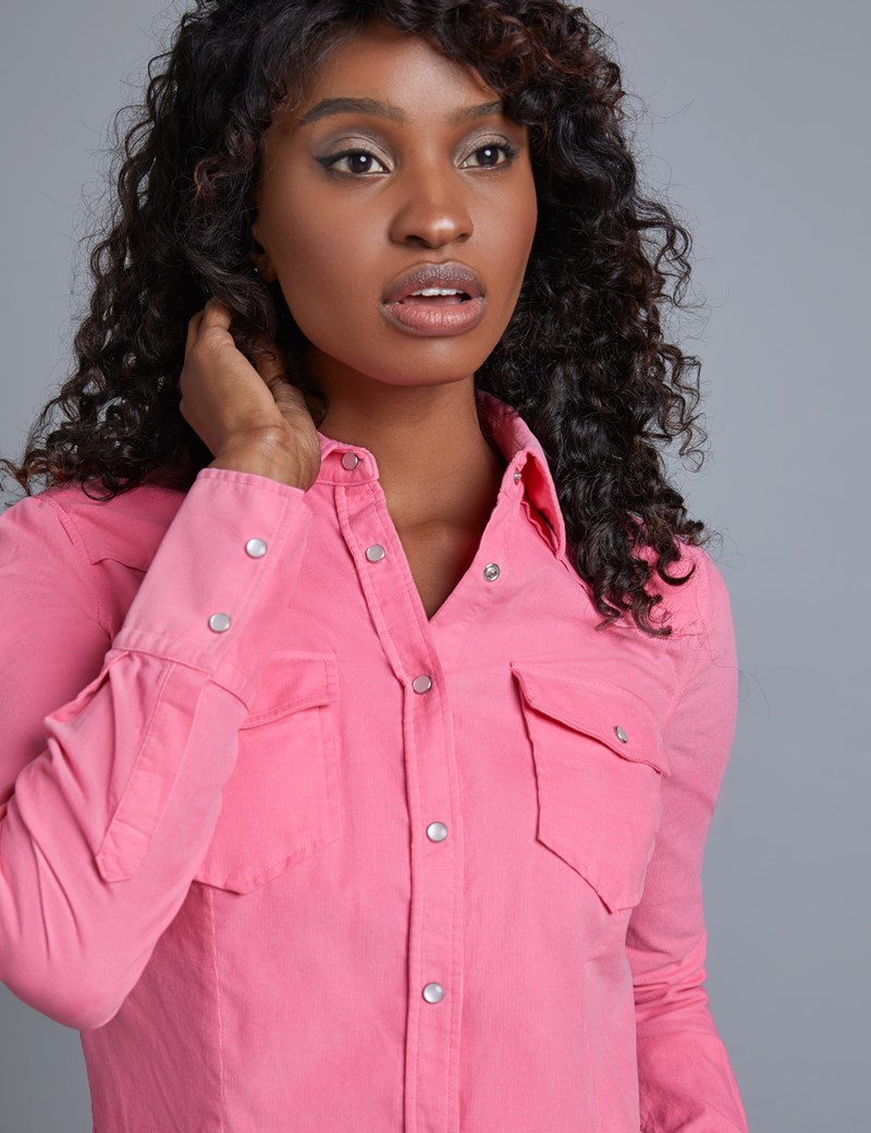 Women's Sugar Pink Corduroy Relaxed Fit Shirt - Single Cuff