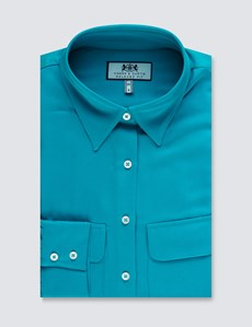 Women's Turquoise Relaxed Fit Shirt - Single Cuff