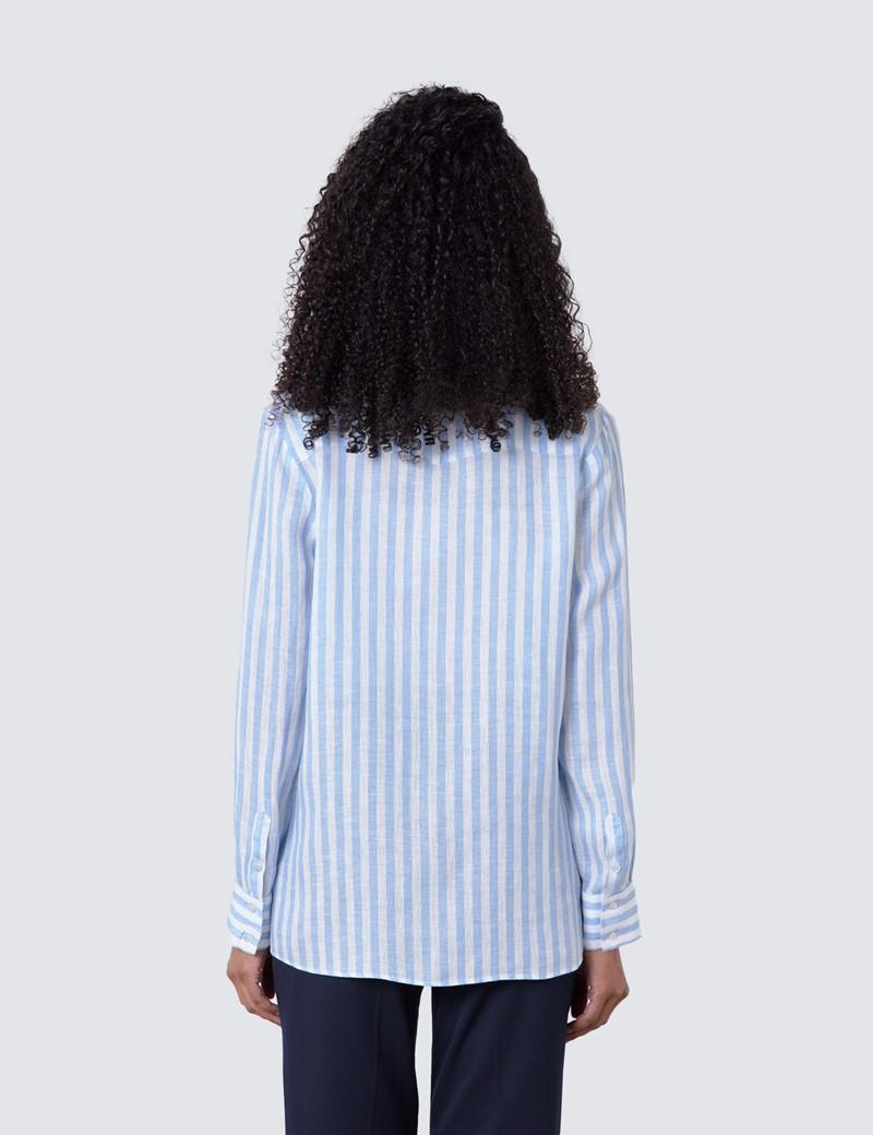 Women's White & Blue Stripe Relaxed Fit Linen Shirt