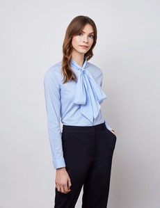 Women's Blue & White Stripe Relaxed Fit Luxury Cotton Nylon Shirt With Tie Detail