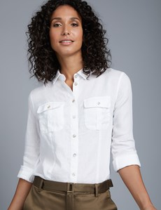 Women's White Relaxed Fit Linen Shirt