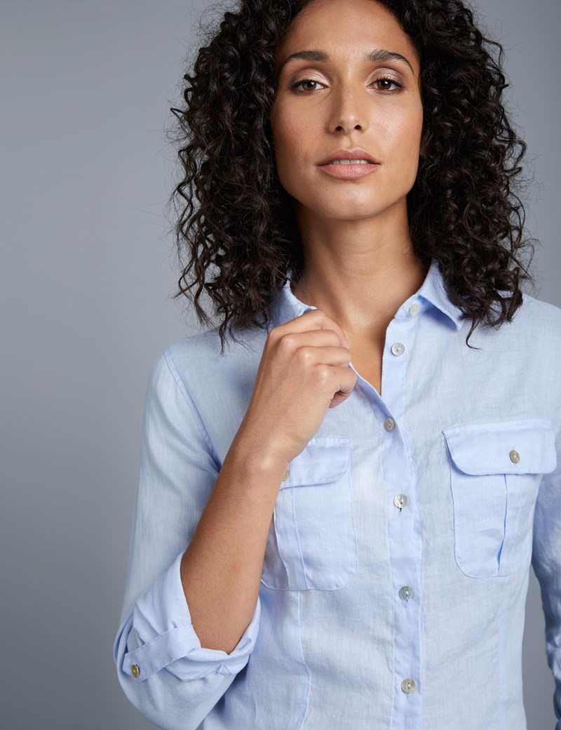 Women's Light Blue Relaxed Fit Linen Shirt
