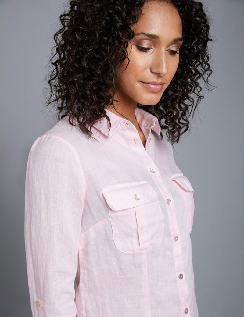 Women's Light Pink Relaxed Fit Linen Shirt