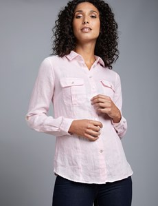 Women's Light Pink Relaxed Fit Linen Shirt