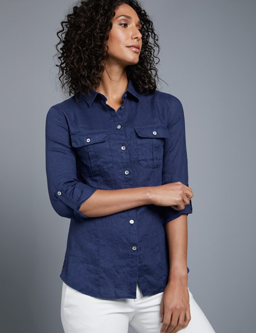 Women's French Navy Relaxed Fit Linen Shirt
