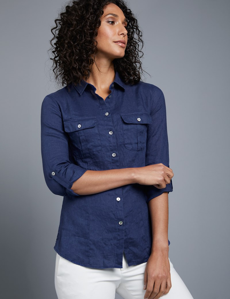 f97a464cb Women's French Navy Relaxed Fit Linen Shirt