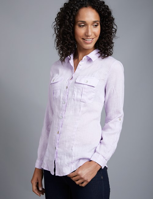 Women's Lilac Relaxed Fit Linen Shirt