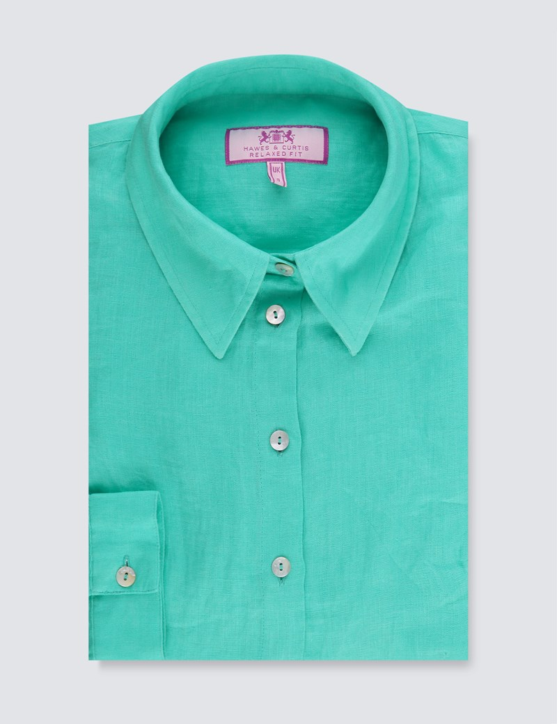 Women's Aqua Relaxed Fit Linen Shirt