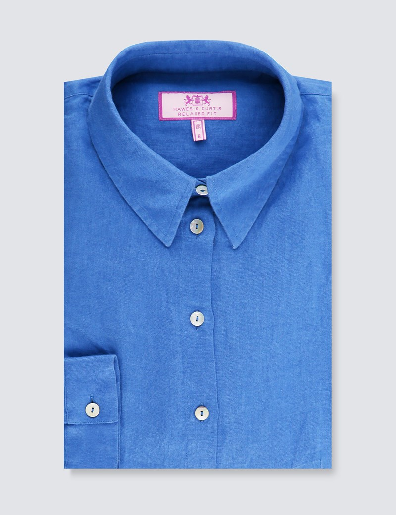 Women's Royal Blue Relaxed Fit Linen Shirt