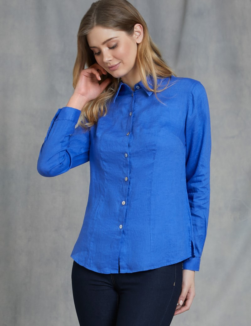 Women S Royal Blue Relaxed Fit Linen Shirt Hawes And Curtis