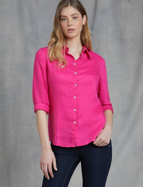 Women's Fuchsia Relaxed Fit Linen Shirt