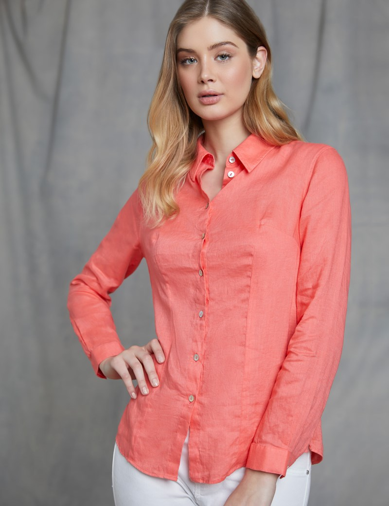 Women's Relaxed Fit Coral Linen Shirt