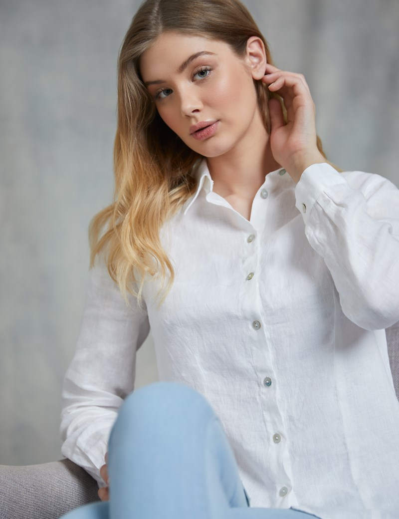 Women's Relaxed Fit White Linen Shirt