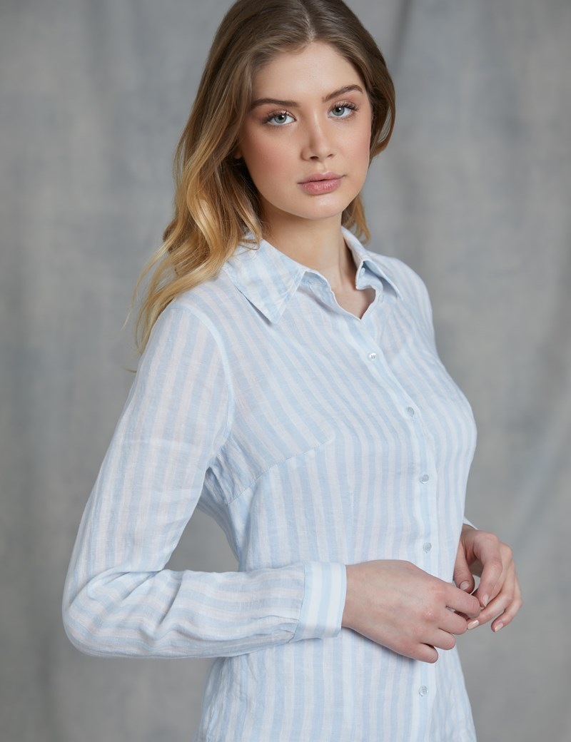 Women's Blue & White Stripe Relaxed Fit Linen Shirt