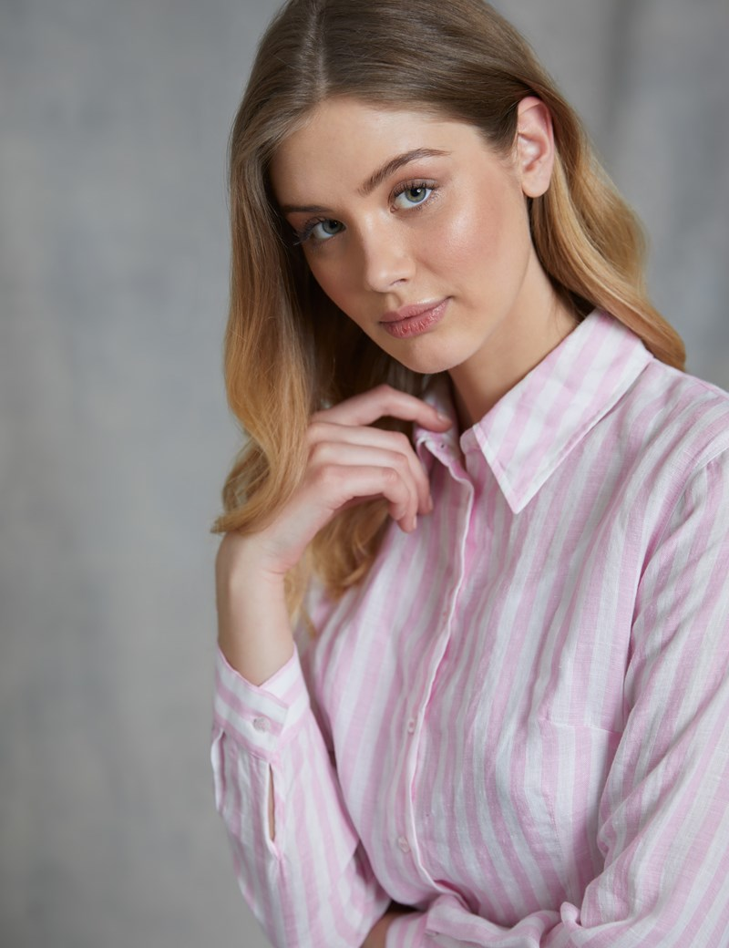 Women's Pink & White Stripe Relaxed Fit Linen Shirt