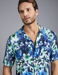 Men's Curtis Blue & Turquoise Hawaiian Floral Print Relaxed Fit Shirt - Short Sleeve