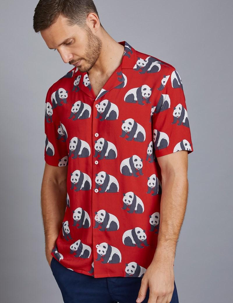 Men's Curtis Red Panda Print Relaxed Fit Shirt - Short Sleeve