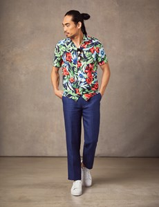Men's Curtis Black & Red Tropical Flower Print Relaxed Fit Shirt - Short Sleeve
