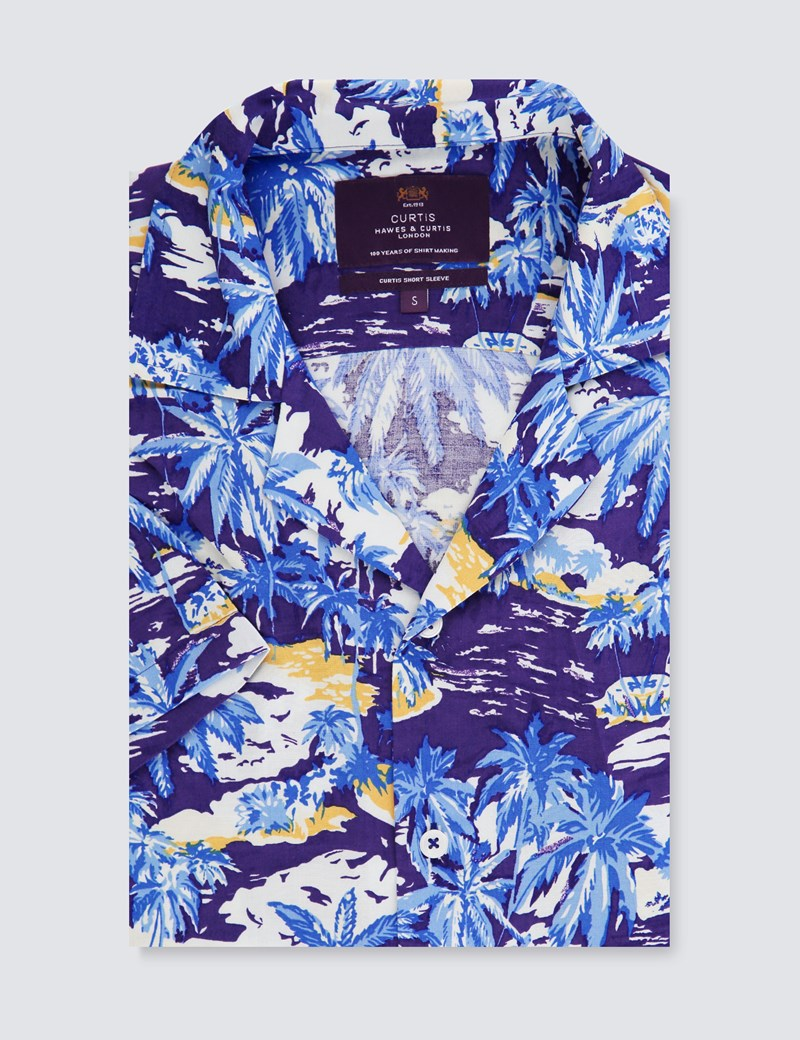 Men's Curtis Navy & Light Blue Palm Tree Print Relaxed Fit Shirt - Short Sleeve