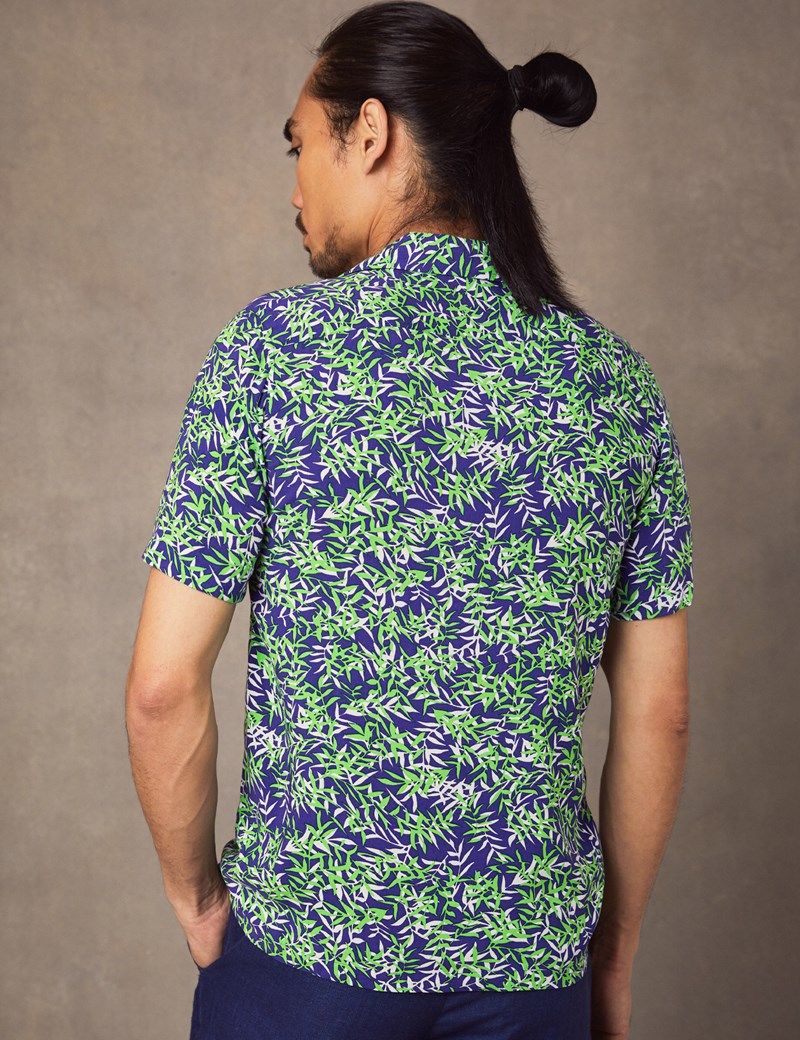 Men's Curtis Navy & Green Leaves Print Relaxed Fit Shirt - Short Sleeve