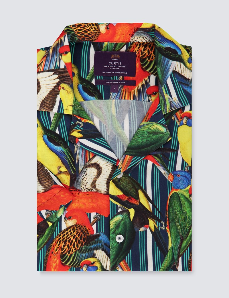 Men's Curtis Yellow & Red Parrot Paradise Print Relaxed Fit Shirt - Short Sleeve