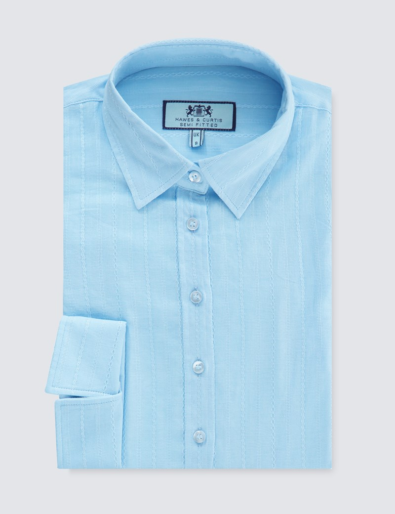 Women's Light Blue Dobby Semi Fitted 3 Quarter Sleeve Shirt
