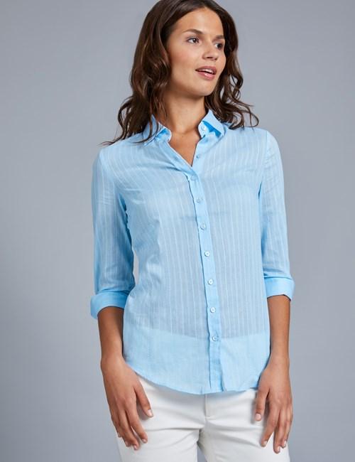 Women's Light Blue Dobby Semi Fitted 3 Quarter Sleeve Shirt