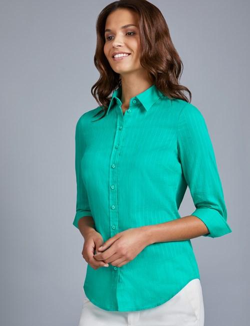 Women's Green Dobby Semi Fitted 3 Quarter Sleeve Shirt