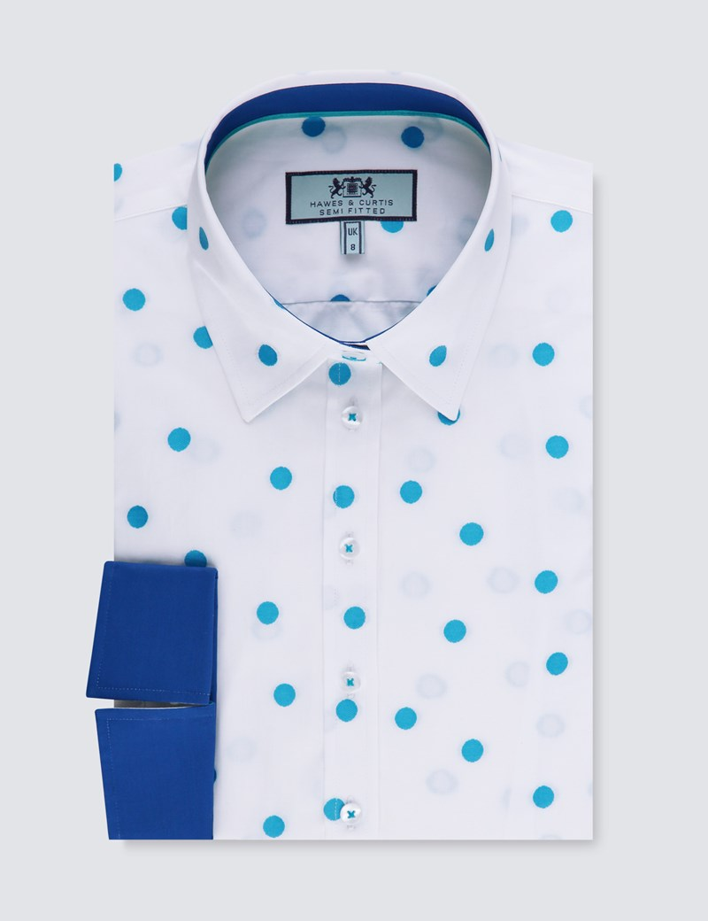 Women's White & Blue Spot Semi Fitted 3 Quarter Sleeve Shirt