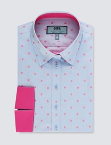 Women's Blue & Pink Dobby Spot Semi Fitted 3 Quarter Sleeve Shirt