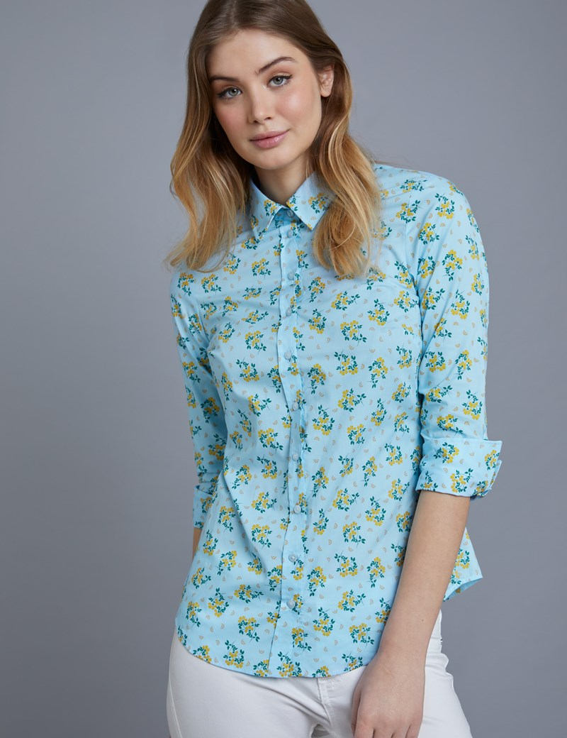 Women's Blue Floral Semi Fitted 3 Quarter Sleeve Shirt