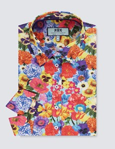 Women's Blue Bright Floral Semi Fitted 3 Quarter Sleeve Shirt