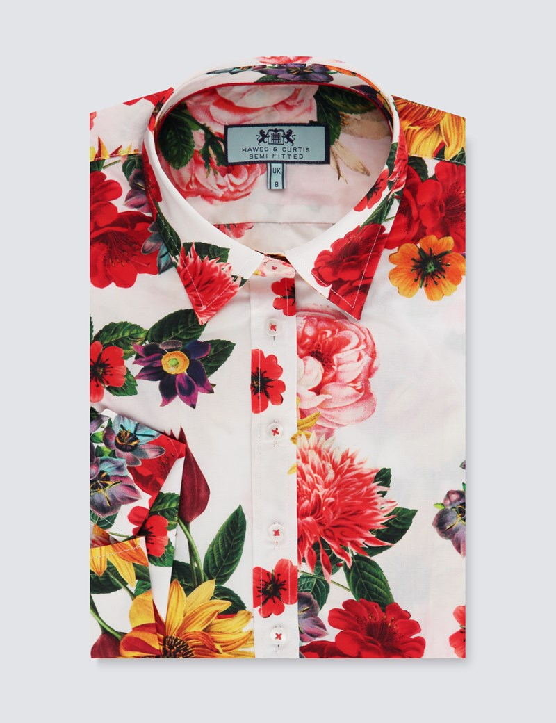 Women's White & Red Floral Semi Fitted 3 Quarter Sleeve Shirt