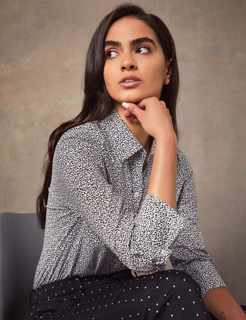 Women's Black & Grey Leopard Print Semi Fitted 3 Quarter Sleeve Shirt