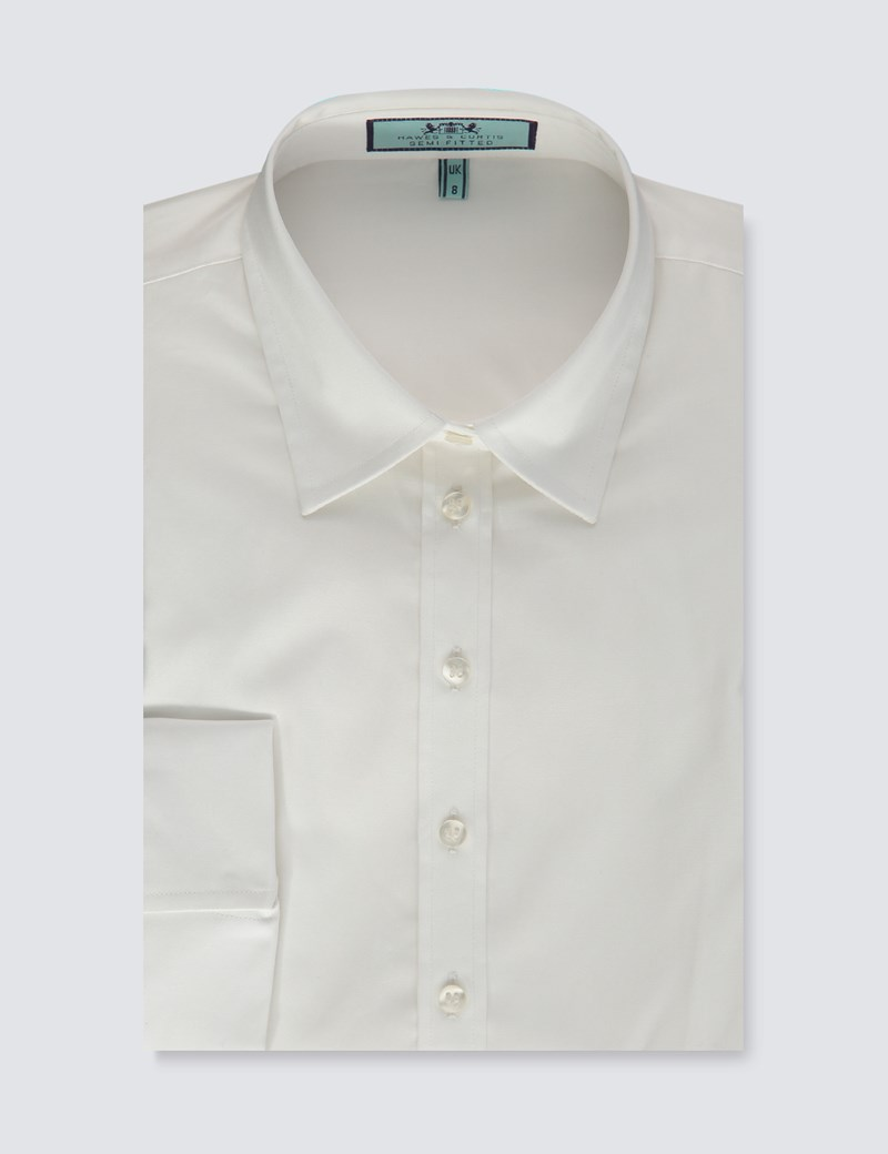 Women's White Semi Fitted Three Quarter Sleeve Shirt