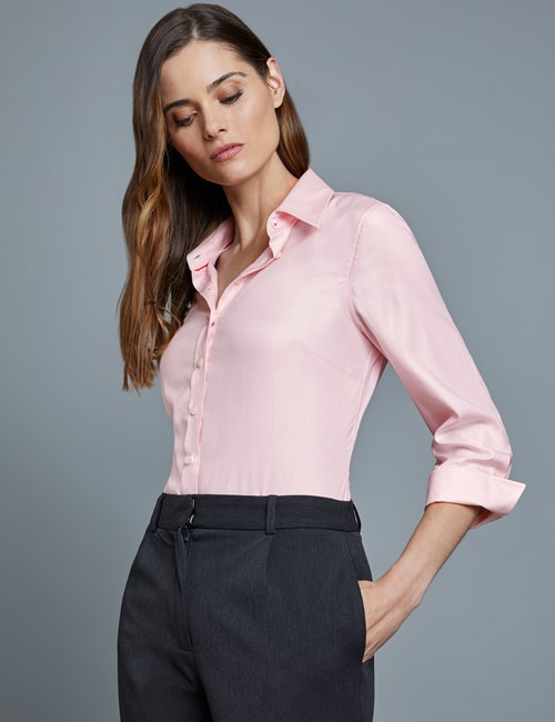 Women's Light Pink Twill Semi Fitted Shirt - 3 Quarter Sleeve