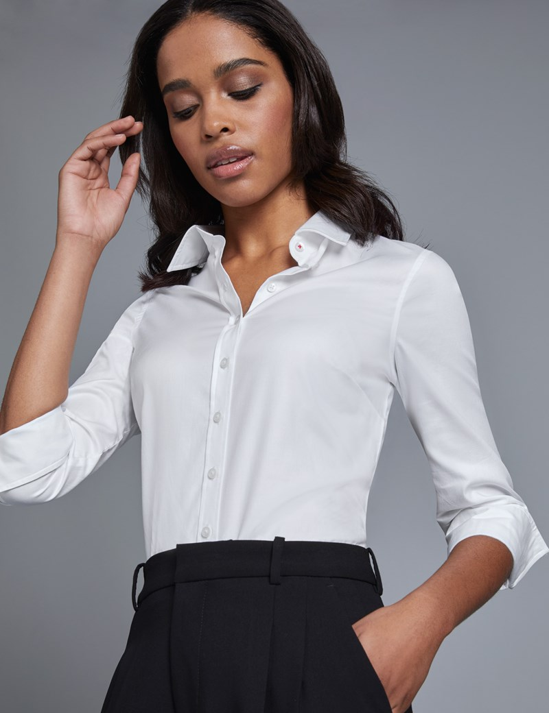 Women's White Twill Semi Fitted Shirt - 3 Quarter Sleeve